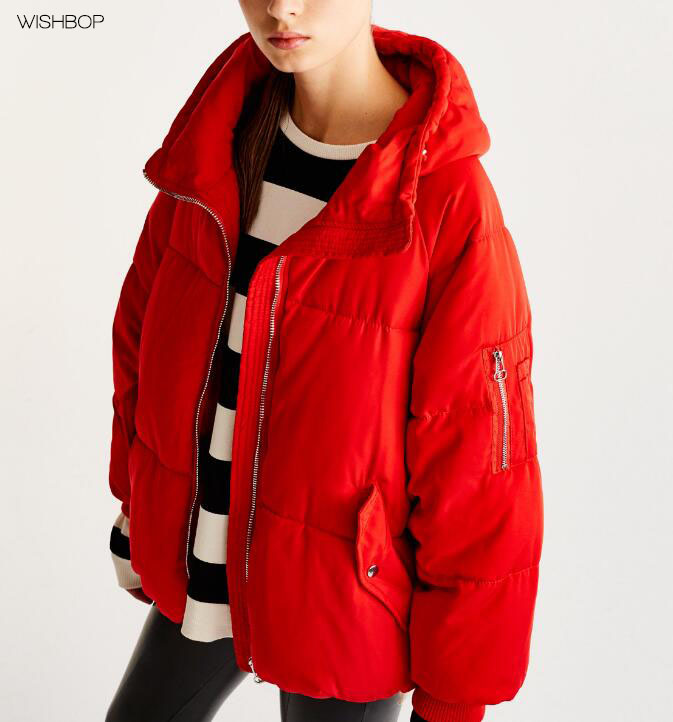 WISHBOP NEW 2017 Fashion Red White Black Solid Color Oversized Quilted Jacket Parka Hooded Long sleeved with Zipped Pockets