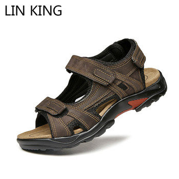 LIN KING Fashion Plus Size Men Sandals Breathable Summer Beach Shoes Genuine Leather Men's Sandal Comfortable Man Causal Shoes new men shoes genuine leather men sandals summer men causal shoes beach sandals man fashion outdoor casual sneakers size 38 48