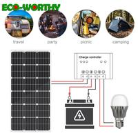 ECOWROTHY mono 100W 18V Monocrystalline Solar Panel for 12/24V battery solar charger Home off grid 100W solar panel system 1000W