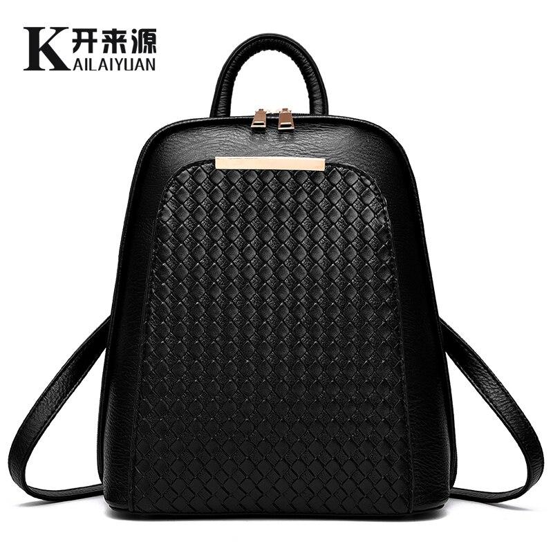 KLY 100% cuero genuino mochila de las mujeres 2018 nueva marea mochila femenina Primavera Verano estudiantes moda casual bolso de las mujeres de Corea