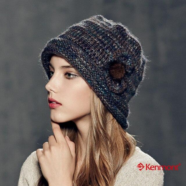 2a7a0a05ee2 Kenmont Autumn Winter Fashion Women Girl Lady Warm 100% Hand Knit Cap 100%  Acrylic Beanie Hat 1627