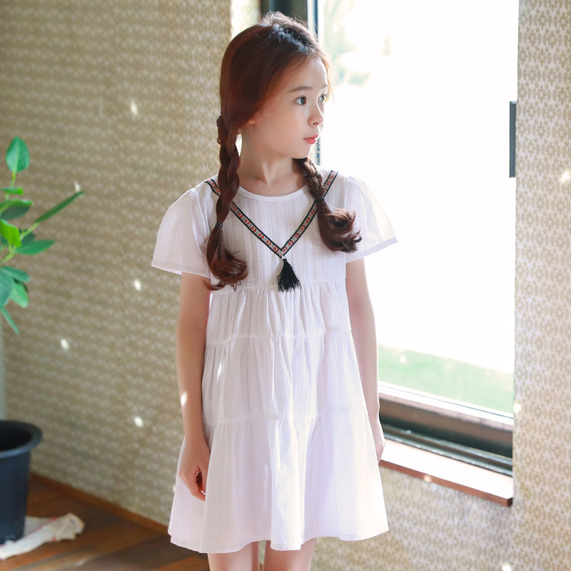 Kids White Girls Dress Cotton Short Sleeve Dress For Girls Casual Summer Fashion Good Quality Children Clothing 4 5 7 8 9 10 12 2016 fashion summer rare editios for girls cute clothing outfits kids short sleeve bow cotton polka dot dress with pants suit