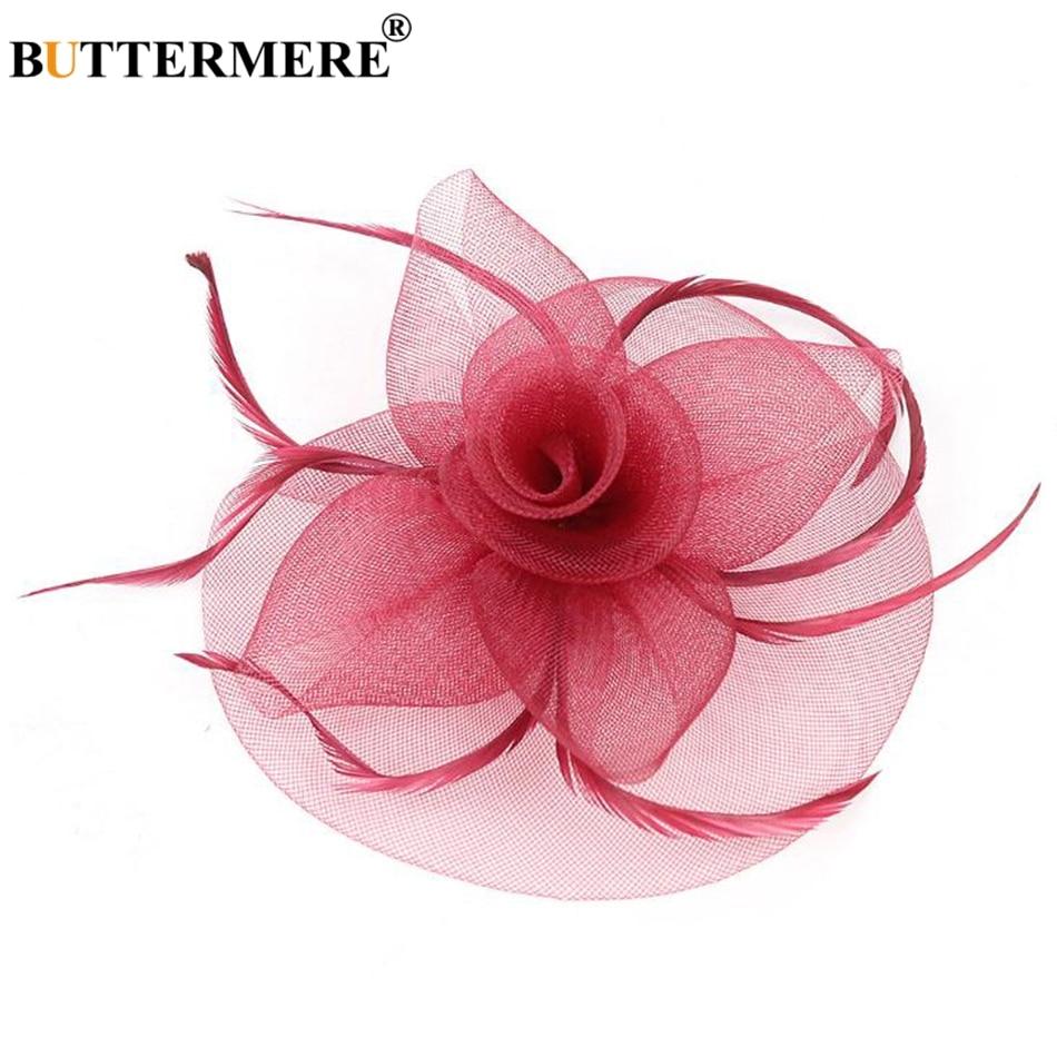 BUTTERMERE Bride Hat Ladies Fedoras White Flower Net Wedding Hat Women Elegant Caps Bridal Fascinator Tea Party Hats Pink 2019 in Women 39 s Fedoras from Apparel Accessories