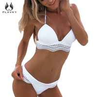 PLAVKY 2017 New Sexy White Lace Biquini Halter Swim Wear Bathing Suit Swimsuit Beachwear Swimwear Women