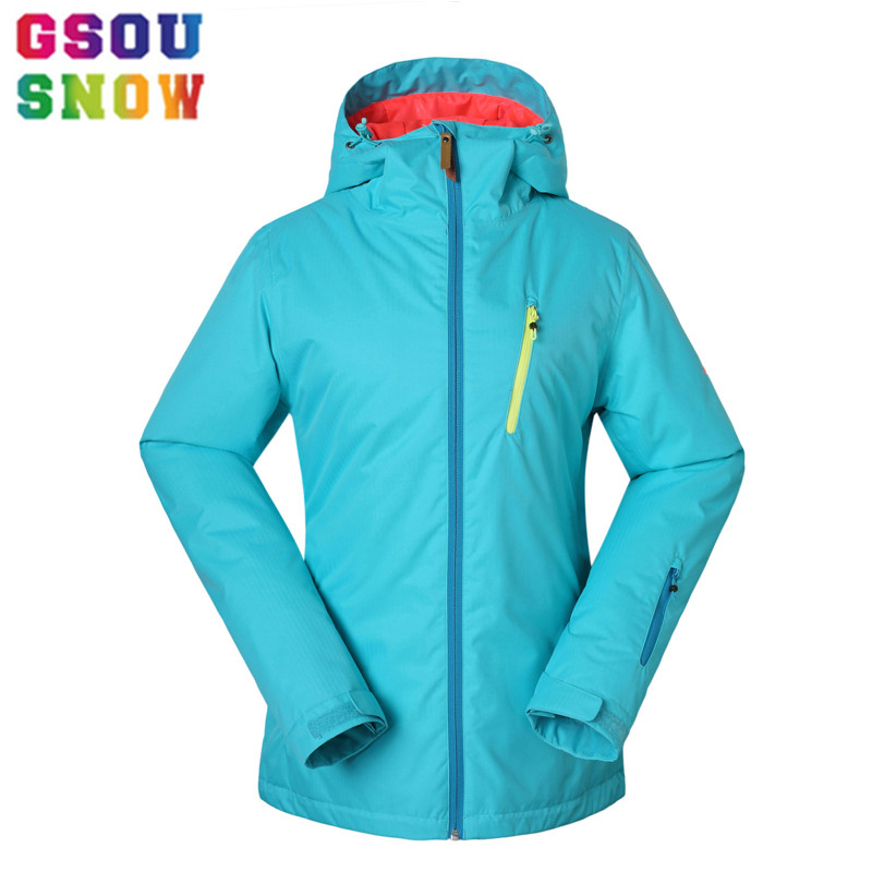 2017 Gsou Snow Ski Jacket Women Winter Waterproof Jacket Ladies Professional Skiing Snowboarding jackets Breathable Bright Color dropshipping 2015 rossignol winter snowboarding jacket ski snow jacket women waterproof breathable windproof skiing jackets
