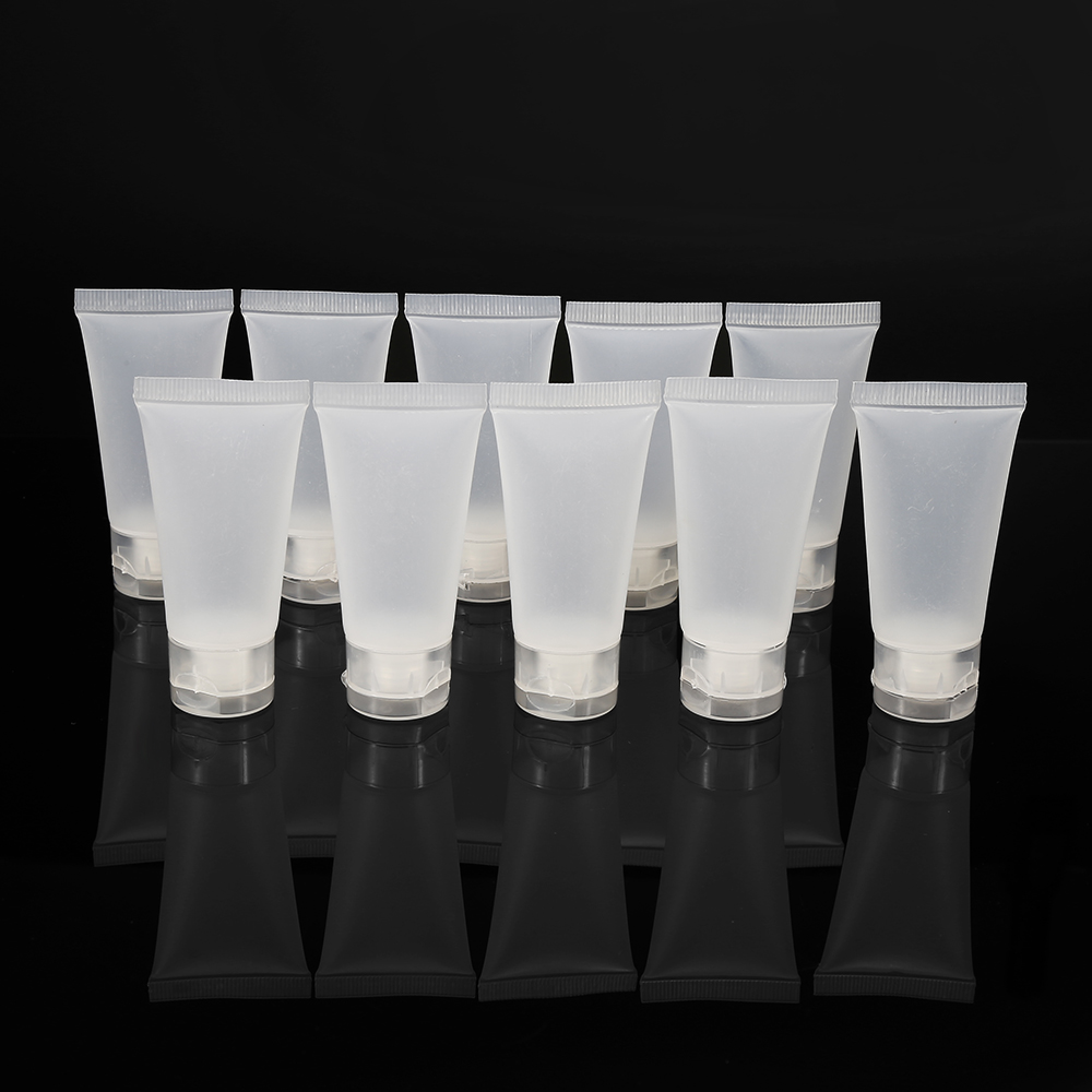10PCS PVC 15ml Clear Empty Facial Cleanser Bottle Refillable Makeup Container Sample Bottles Soft Tube Cosmetic Pot