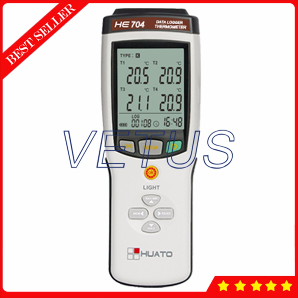 HE704 Digital K J E T R S N B Type Thermocouple Thermometer with 4 Channel Thermocouple Sensor Probe Industrial Temperature Test
