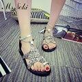 La sra. Noki Nuevo 2017 Tobillo-correa de los zapatos de Las Mujeres de Bling bling Nuevo Diseñador de Punta Redonda Zapatos de Verano Sandalias planas Cómodas Zapatos de las mujeres