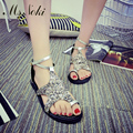 Ms. Noki New 2017 Women Bling Bling Ankle-strap shoes New Designer Round Toe Summer Shoes Sandals flat Comfortable Women Shoes