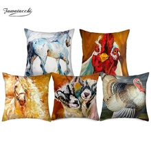 Fuwatacchi Animal Oil Painting Cushion Cover Oxen  Horses Pillow For Home Car Chair Decorative Pillowcases 450mm*450mm