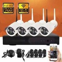 YobangSecurity 4CH WI-FI NVR Kit Беспроводной CCTV Камера Системы 1.3MP 960 P HD Открытый IP Камера P2P видео Камеры Скрытого видеонаблюдения Системы
