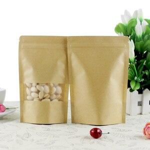 Image 5 - 100pcs קראפט שקית נייר נעילת מיקוד לעמוד תיק עם חלון, אירוע מסיבת מתנת שקיות תה אריזת סוכריות מזון יום הולדת מתנת שקיות