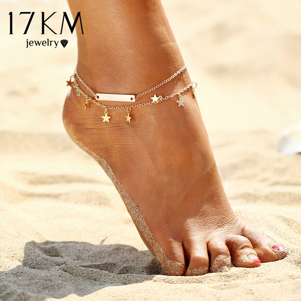 layer free beach bracelet jewelry anklets shipping anklet multi pendant chain gift summer new charm star foot leg yoga shippinganklets