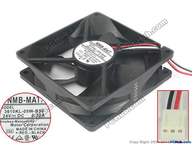 NMB-MAT 3610KL-05W-B59 F00 DC 24V 0.20A 3-wire 92x92x25mm Server Square fan nmb mat 3110kl 04w b49 b02 b01 dc 12v 0 26a 3 wire server square fan