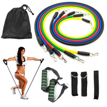 11pcs/set Pull Rope Fitness Exercises Resistance Bands Crossfit Latex Tubes Pedal Excerciser Body Training Workout Yoga