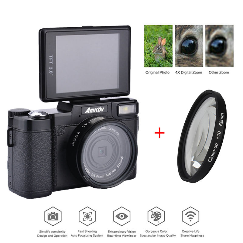 AMKOV Photo Traps 1080P AMK-R2 24MP HD Digital SLR Camera Camcorder Recording 4x Zoom 3.0 TFT + Wide-angle Lens+Tripod+ Bagpack teer h800 1 6 tft display screen 120 wide angle hd 2 0mp cmos 1080p hfd camcorder black silver