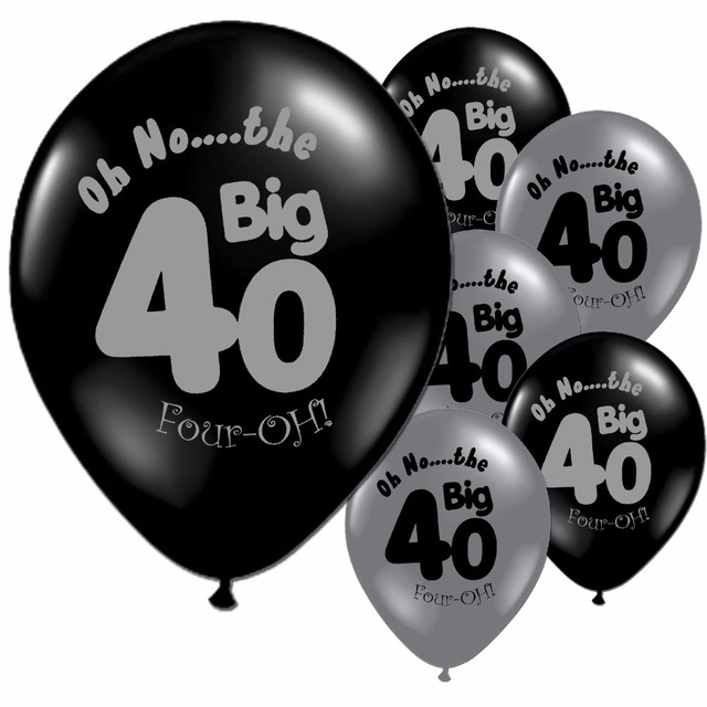 10pcsLot Black Silver 40th Birthday Party Decorations 40 Pearlised