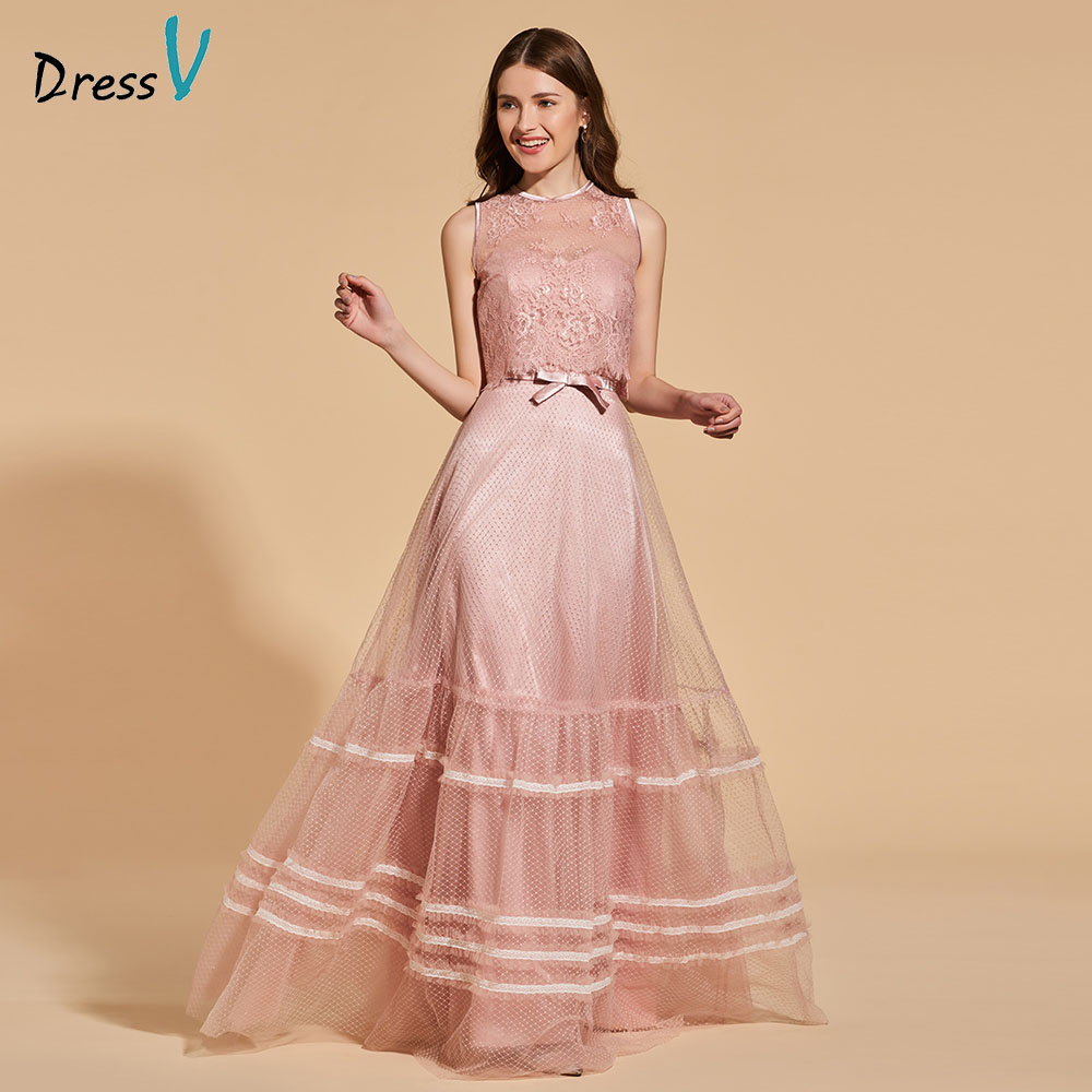 Dressv Party-Gown Elegant Evening Sleeveless Lace Button Scoop Sashes A-Line Customize