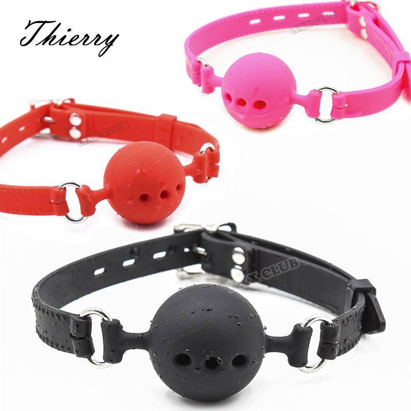 Thierry Fetish Extreme Full Silicone Breathable Ball Gag,bondage Open Mouth Gags,Adult Sex Toys For Couple Adult Game Size S M L