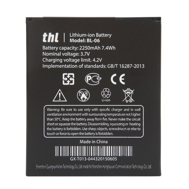 Free Shipping BL-06 T6S Original Mobile Phone Battery BL06 BL 06 For THL T6 Pro T6C Replacement Batteries High Capacity 2250mAh