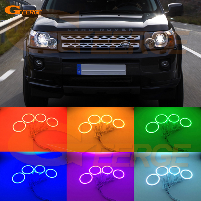 For LAND ROVER FREELANDER LR2 2007 2008 2009 2010 XENON HEADLIGHT Excellent Multi-Color Ultra bright RGB LED Angel Eyes kit for land rover freelander lr2 2007 2008 2009 2010 xenon headlight excellent ultra bright illumination smd led angel eyes kit