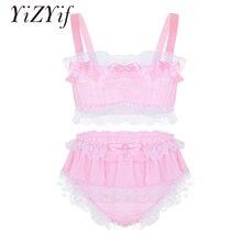 YiZYiF Sissy Men Underwear 섹시한 의상 세트 Ruffled Lace Sheer 시폰 자르기 Top Skirted Petticoated Panties 남성용 이국적인 세트