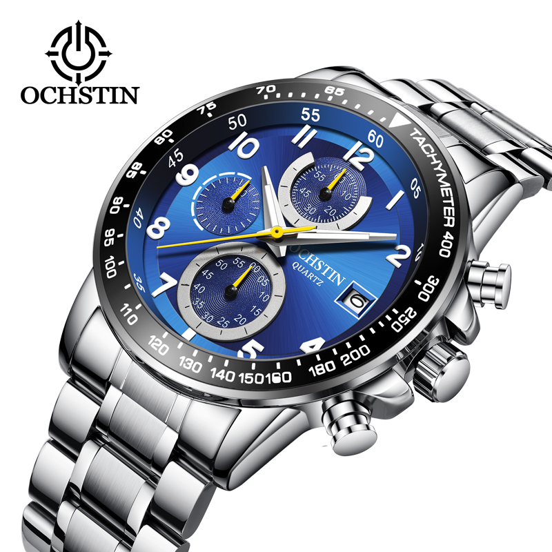 2019 New OCHSTIN Reloj Hombre Watch Men Sport Quartz Fashion Leather Clock Montre Homme Men Watch Top Brand Luxury Big Dial Busi