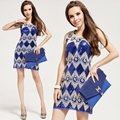 Европа высокое качество бренда короткое вечернее платья выпускного вечера, элегантные и загадочные блестками бизнес вечерние платья, Синий 6018