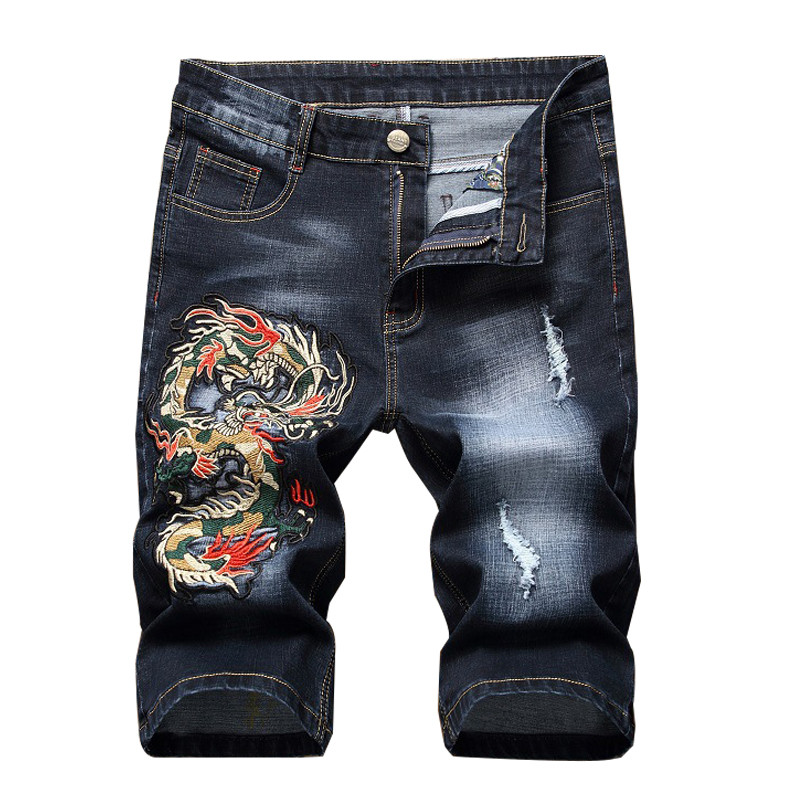 MORUANCLE Men's Ripped Short   Jeans   With Dragon Embroidery Fashion Distressed Embroidered Denim Shorts For Male Straight