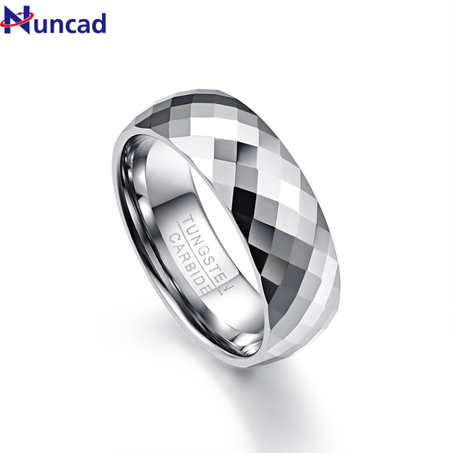 f0799fc54295 Nuncad Men s 7.5mm Multi-faceted High Polished Domed Tungsten Carbide Wedding  Band Rings Comfort