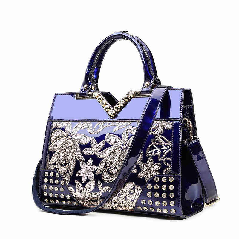 2018 designer high quality sequins flowers hand bags women famous brands box messenger bag ladies business totes patent leather kajie high quality genuine leather designer totes famous brands women handbags casual tassel ladies messenger crossbody bags