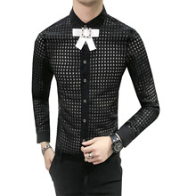 Chemise Slim Fit Homme Hollow Out Grid Unique Social Shirt Dress Long Sleeve Shirts Mens Men Camisa Masculina Camicie Uomo