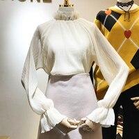 Nueva Primavera Hilado de la Red de Soporte de Cuello Puff Manga Camisas de Las Señoras Sólida Simple Suelta Camisa de Hadas Femenina Elegante de Las Mujeres Tops