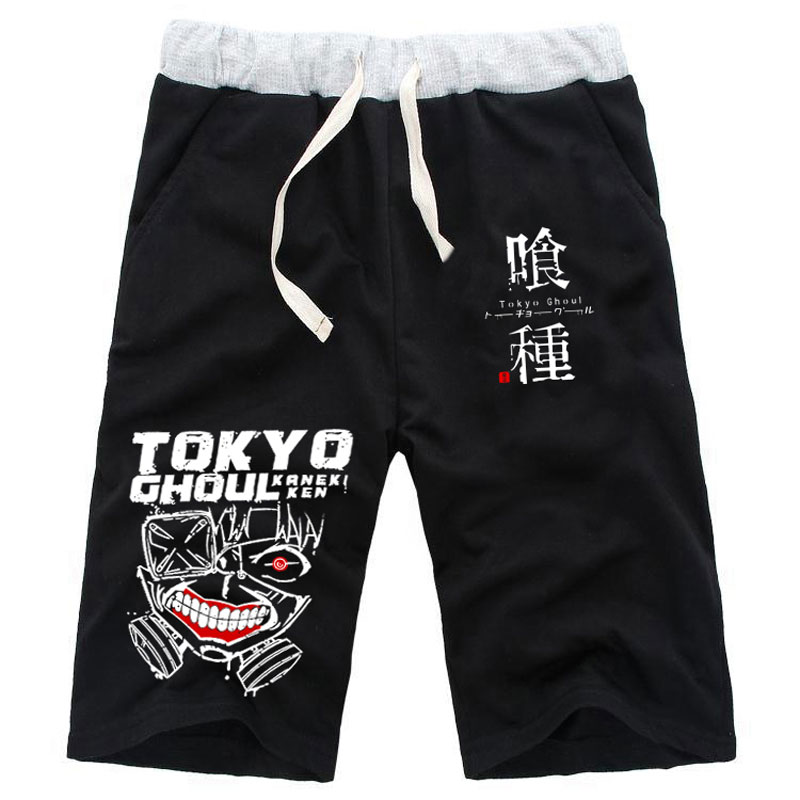 Anime Tokyo Ghoul Kaneki Ken Mask Print Straight Shorts Knee Length Cotton Casual Fitness Short Pants Sweatpants Pocket Trousers in Casual Shorts from Men 39 s Clothing