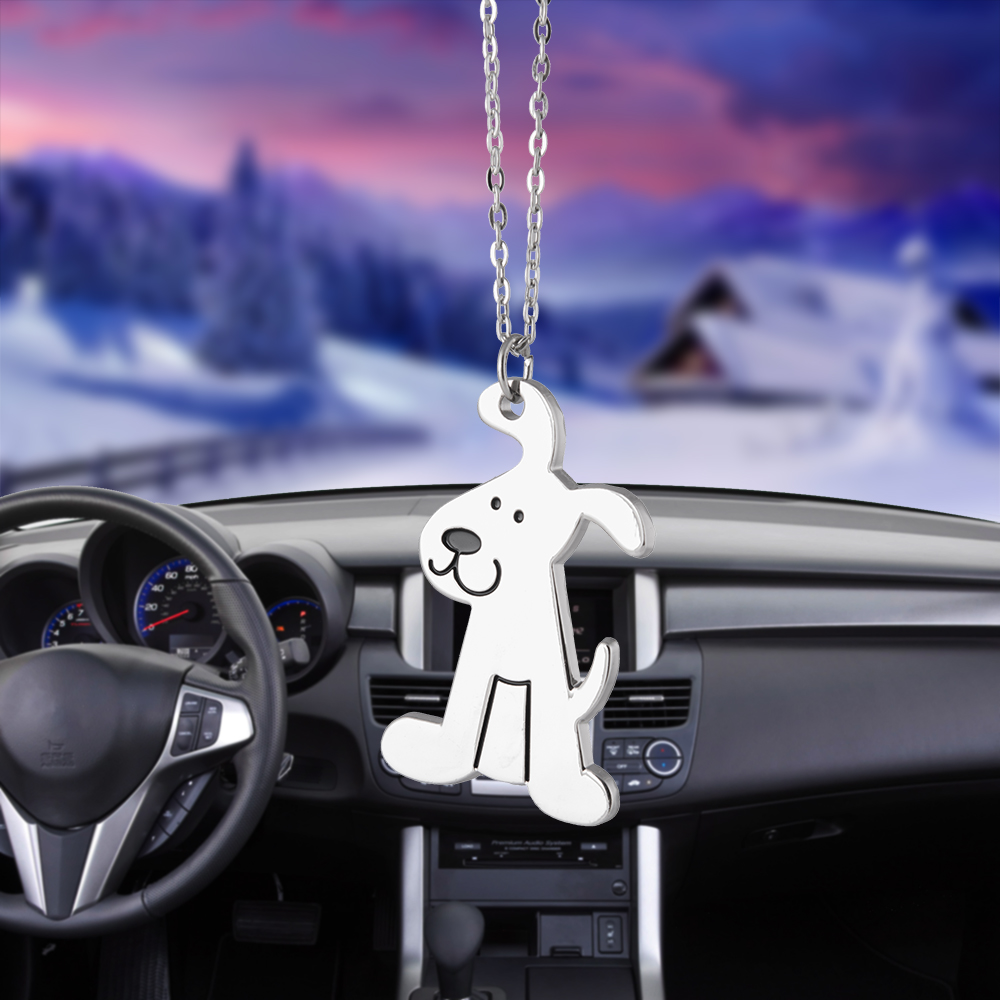 Car Ornaments Pendant Metal Cute Dog Hanging Auto Interior Rear View Mirror Decoration Dangle Trim Accessory Styling Friend Gift