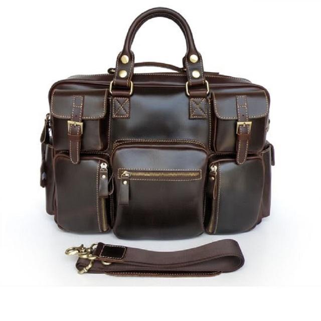 2016 Novo 100% Genuíno Couro De Vaca Bolsas Moda Totes Sacos de Viagem Expedição Pastas Messenger Bag Ombro 7028B