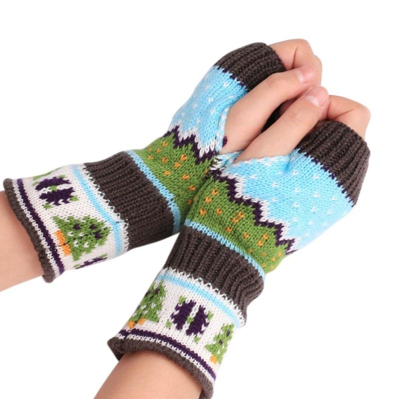 1Pair Fashion Knitting faux Wool Mitten Warm Fingerless Gloves gants femme Striped Hand Warmer Winter Gloves