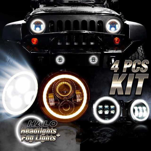 For Jeep 7 Inch Led Halo Headlights With Amber Turn Light 4 Fog Lamp Drl Combo Kit Wrangler Jk 2007 2016