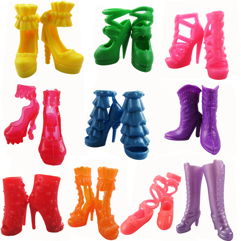 10 Pairs Fashion Colorful Barbie Dolls Shoes Heels Sandals Boots For Barbie Doll Dress Accessories Girl's Gift Baby Toys кукла barbie fairytale checklane asst dolls фея 10 см v7050