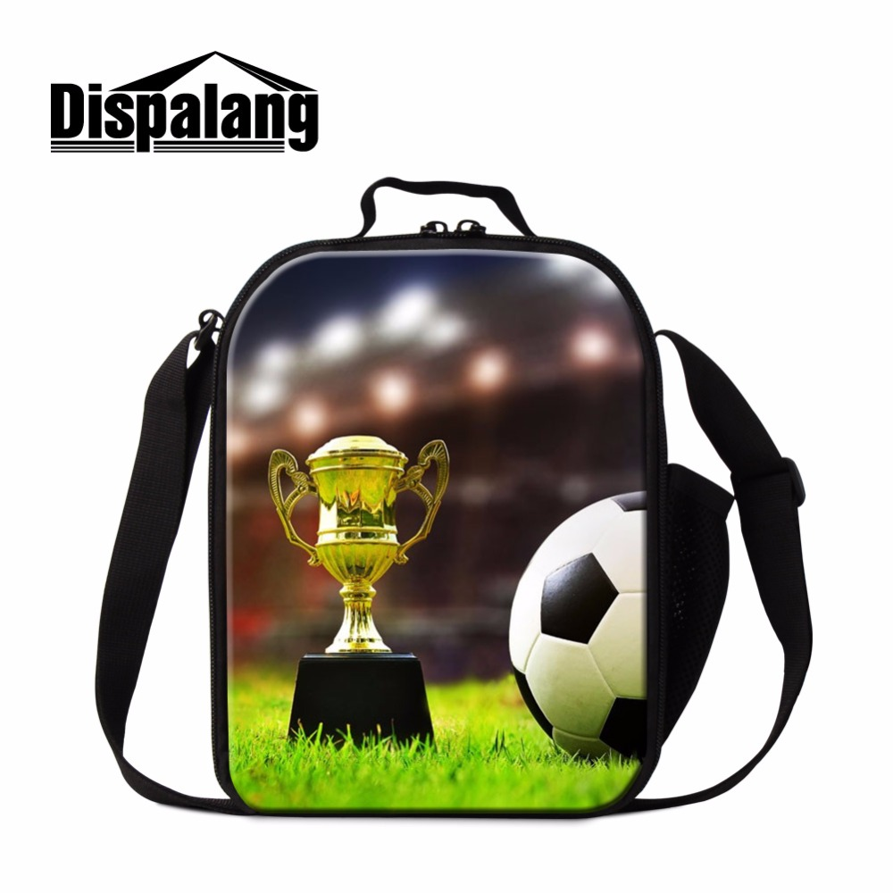 Dispalang Soccerly Lunch Cooler Bags for Children Footbally Insulated Lunch Bag Kids Small Messenger Lunch Conatianer Meal Bags