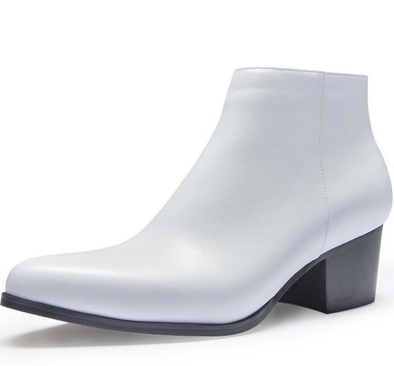 가을 겨울 망 하이힐 가죽 부츠 지적 발가락 지퍼 플러시 따뜻한 발목 부츠 높이 증가 경력 남성 부츠 신발-에서작업 & 안전 부츠부터 신발 의  그룹 3