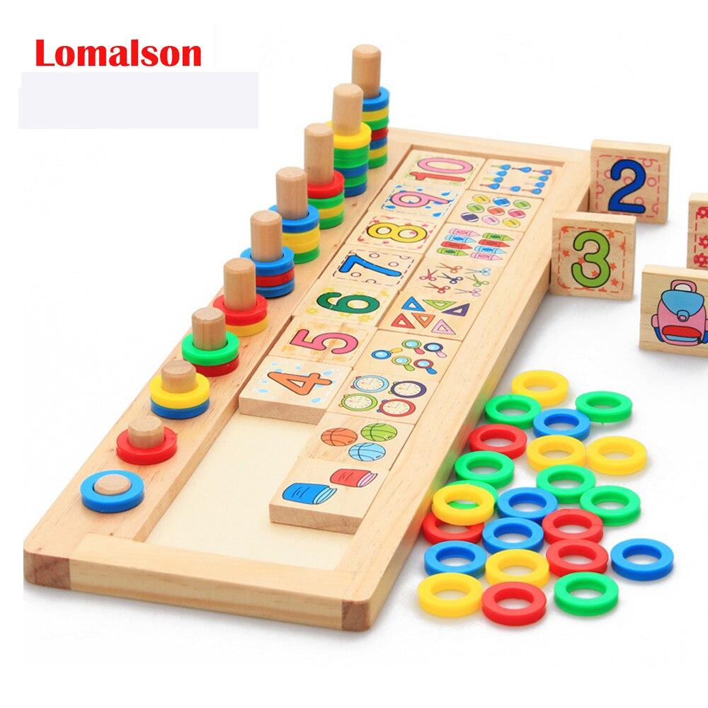 Comptage nombre empileur jeux de société en bois Montessori arc-en-ciel anneaux Dominos Puzzles enfants préscolaire Maths enseignement aides jouets
