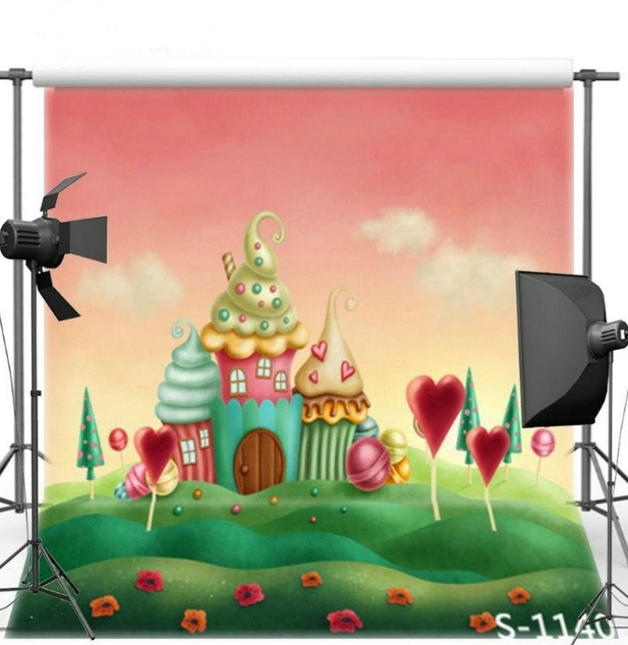 Candy Theme Candyland Cottage Green Grass Cartoon Backgrounds Vinyl cloth High quality Computer print Children kids backdrop the new high quality imported green cowboy training cow matador thrilling backdrop of competitive entrance papeles