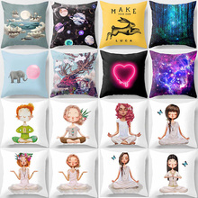 Hot sale Yoga heart forest pillow cases square Pillow case cute cartoon rabbit elephant  covers size 45*45cm