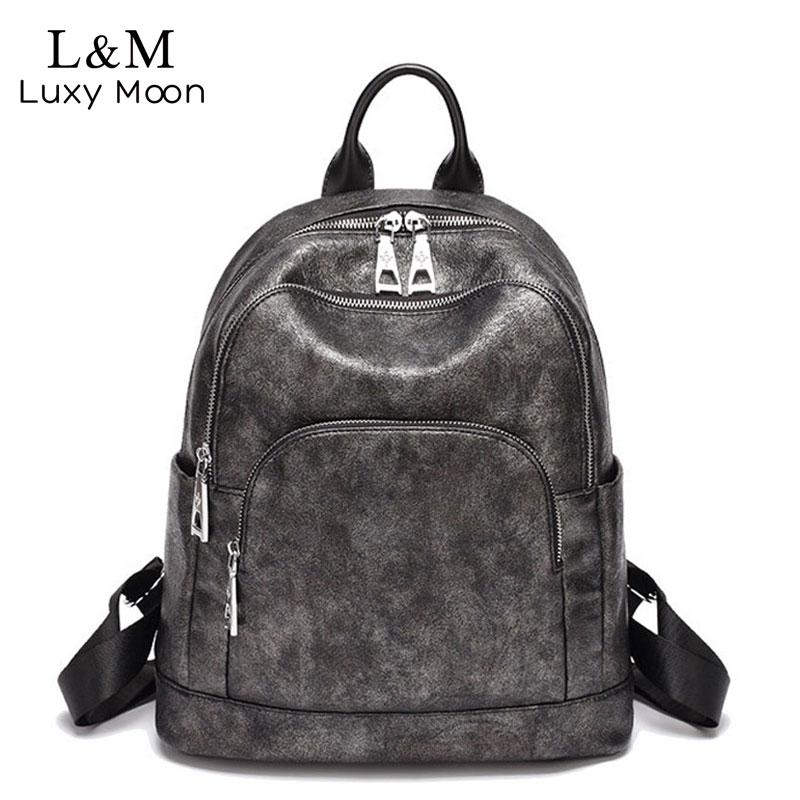 Vintage Women Backpack Leisure Ladies Shoulder Bags Backpack High Quality Leather School Bag For Girls Travel Backpacks XA486H