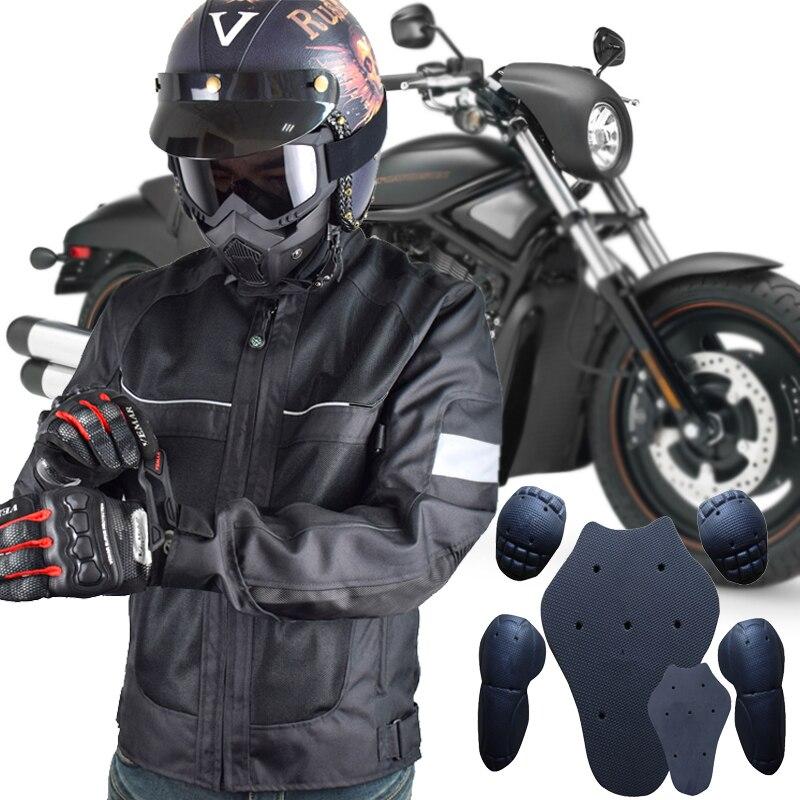 LYSCHY Motorcycle Jacket Mens Chaqueta Moto Verano Breathable Jaqueta Motoqueiro Motocross Jacket Protection Racing Riding Black