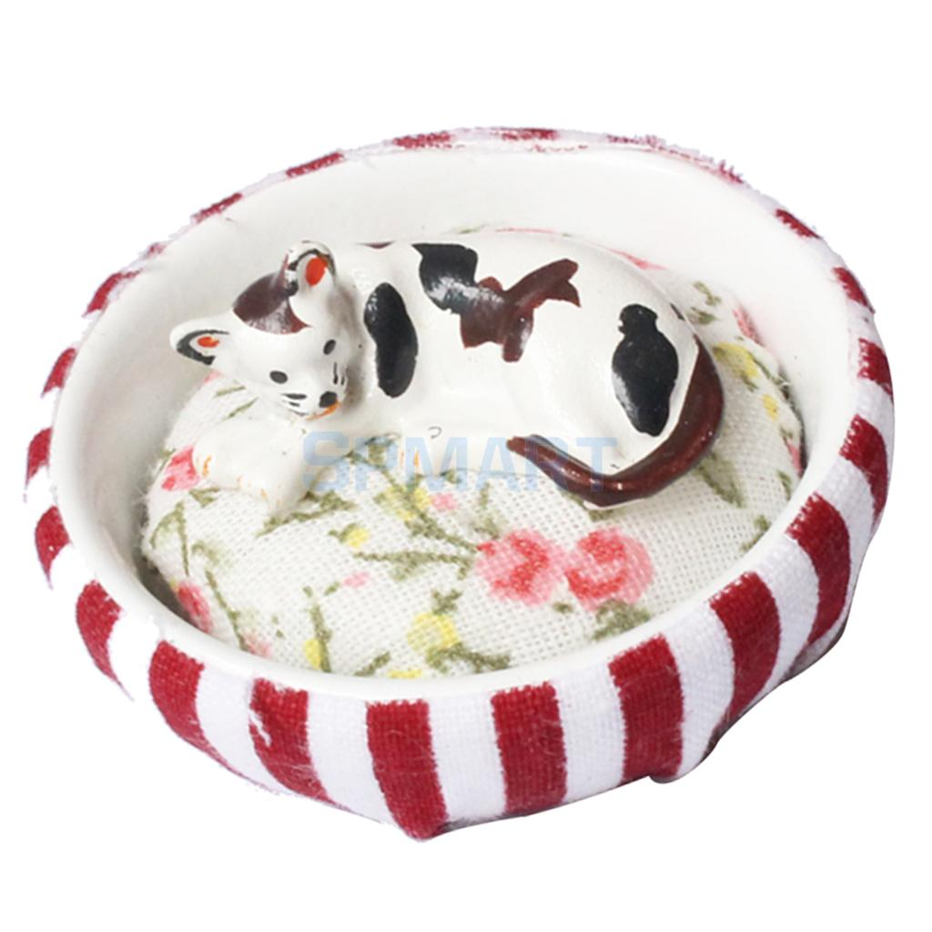 112 Scale Animals Kitten Cat or Puppy Dog with Nest Miniatures Dollhouse Decoration