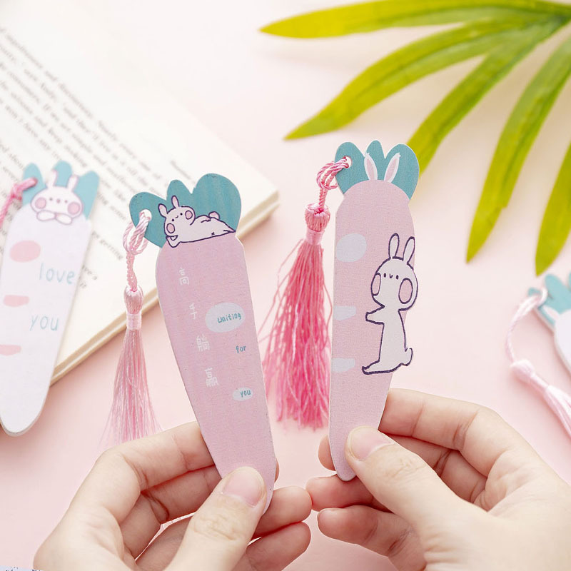 Cartoon Rabbit Carrot Bookmark For Book Markers Cute Animal Wooden Ruler School Office Supplies Stationery Gift
