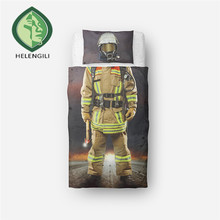 HELENGILI 3D Bedding Set Fireman Print Duvet cover set lifelike bedclothes with pillowcase bed home Textiles #RW-08