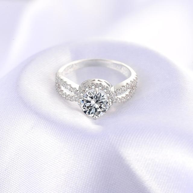 ANFASNI Engagement Rings For Women Silver Color Wedding Ring CZ Zircon Jewelry Trendy bague Luxury bijoux Accessories CRI0323-B